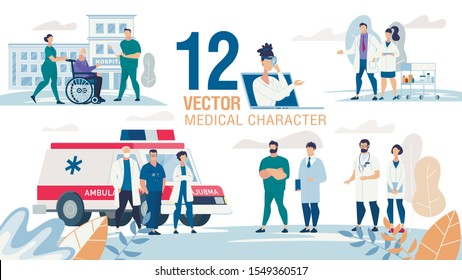 Doctors, Medical Experts, Medicine Professionals Characters Trendy Flat Vector Set. Nurse Transporting Senior Patient on Wheelchair, Doctors near Ambulance Car, Female, Male Practitioners Illustration