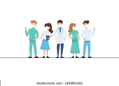 Doctors and medical staff wearing Face Mask Fight Against Covid-19. vector illustration
