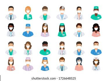 Doctors and nurses avatars in medical masks. Set of medicine employee faces. Group men and women portfolio avatars isolated on white background. Vector illustration. Healthcare concept. Hospital staff
