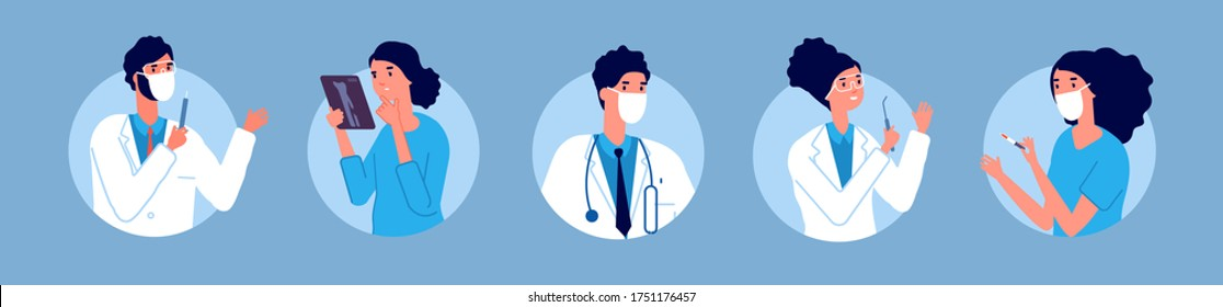 Doctors nurses avatars. Medical staff, healthcare hospital team in protective masks. Flat therapist, surgeon and dentist. People working in clinic, emergency vector illustration