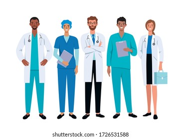 Doctors and nurses cartoon characters on white background. Stop coronavirus