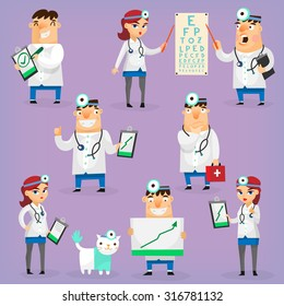 Doctors and nurses characters in hospital uniform treat patients and research positive dynamics. Isolated vector