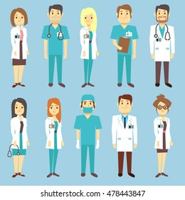 Doctors nurses medical staff people vector characters in flat style. Practitioner and surgeon in uniform, occupation professional physician illustration