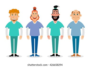 Doctors and nurses and medical staffs flat design icon set. vector.