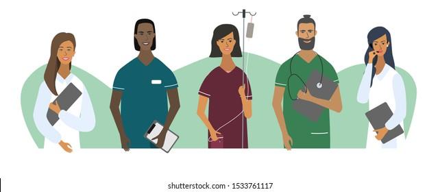 Doctors Nurses Portraits Avatars Set Medical Stock Vector Royalty Free 1533761117