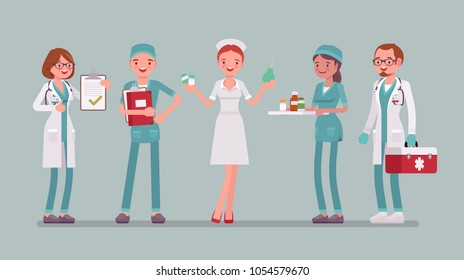 Doctors and nurses set. Smiling people in hospital uniform busy with clinic work, attractive, skilled in practice, full length. Medicine and healthcare concept. Vector flat style cartoon illustration