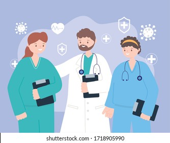 doctors and nurses, team professional physicians nurses staff, medical people characters vector illustration