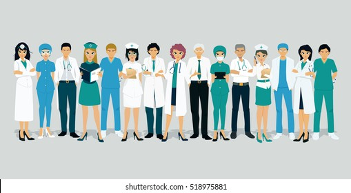 Doctors and nurses in uniform with a gray background.