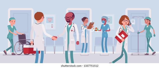 Doctors and nurses working in a hospital. Busy day in clinic department, staff and med equipment, patients given professional medical treatment, health care institution routine. Vector illustration