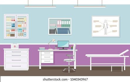 Doctor's office interior design in medical clinic. Empty hospital consultation room with furniture. Healthcare concept.