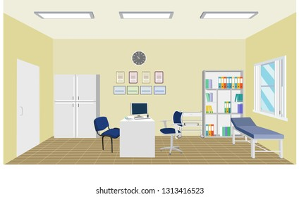 Doctor's office interior scenery background f;at design