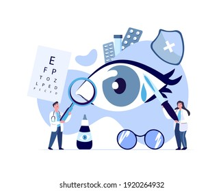 Doctors Ophthalmologist, Oculists Examine, Diagnose Eye Vision Acuity with Snellen Chart.Farsightedness,Color Blindness, Glaucoma Treatment.Research Clinical Investigation.Medical Council Illustration
