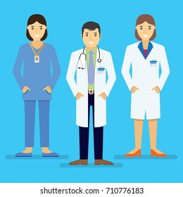 Doctors and other hospital staff stand together. Vector illustration