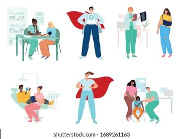 Ärzte und Patienten, verschiedene medizinische Fachkräfte. Krankenhaus, Medizin.