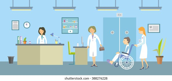 Doctors and patients in a hospital. Vector illustration.