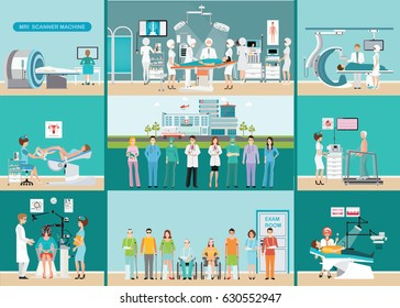 Doctors and patients in hospitals,Medical services,dental care, x-ray,Orthopedic clinics, MRI scanner machine,ophthalmic testing device machine,C Arm X-Ray, health care conceptual vector illustration.