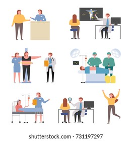 Doctors and Patients with Obesity Clinic vector illustration flat design