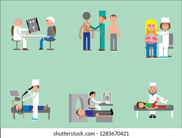doctors and patients therapist, urologist, gastroscopy, allergist, magnetic resonance imaging, trauma