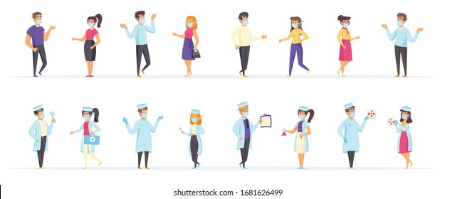 Doctors and patients wearing medical masks to prevent any diseases and viruses. People characters in safety masks vector illustration in flat style. Coronavirus self-protection and prevention scenes