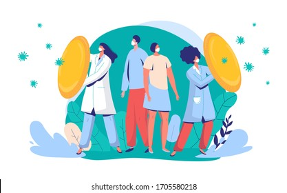 Doctors protect citizens from virus vector illustration. People and physician character wearing face mask fight against covid-19, medical worker with shield, front line for coronavirus.
