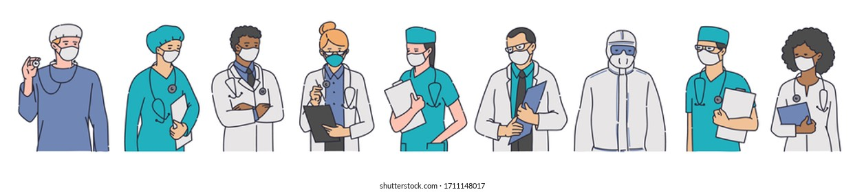 Doctors in protective antibacterial clothes and medicine masks for work during coronavirus pandemic, sketch vector illustration isolated on white background.