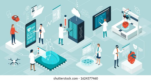 Doctors and researchers using innovative technologies for medicine and healthcare: medical wearables, AI, 3D printed and digital organs, stem cells and DNA bank