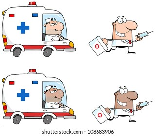 Doctors Running With A Syringe And Bag From Ambulance .Vector Collection