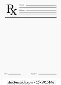 Doctor's Rx pad template. Blank medical prescription form.