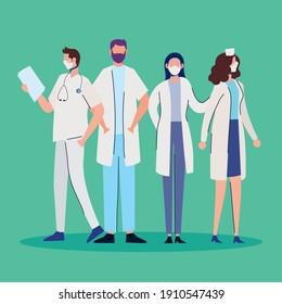 doctors staff wearing medical masks standing characters vector illustration design