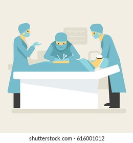 Doctors surgical operation in clean room. Medical flat style illustration