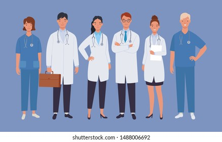 Doctors team. Medical staff doctor and nurse, group of medics. Vector illustration in a flat style
