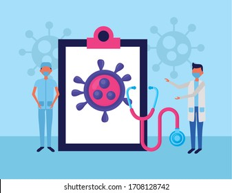 doctors using face masks with checklist and covid19 particles vector illustration design