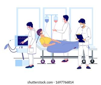 Doctors using IV fluid and ventilator to keep severely-ill coronavirus patient alive, vector flat illustration. ICU room, medical ward, hospital treatment for coronavirus respiratory disease COVID-19.