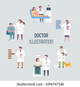 Doctors in various fields. flat design style vector illustration set
