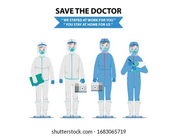 Doctors who saves patients from coronavirus outbreak.  Fight to COVID-19 concept. Save the doctor concept.