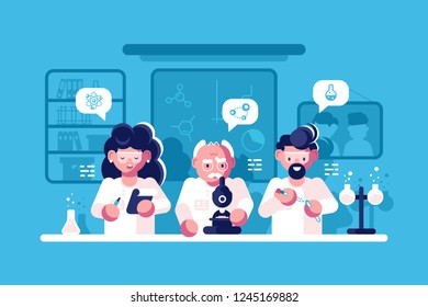 Doctors working at researching laboratory vector illustration. Group of scientists doing research and experiments at medical lab with special equipment flat style concept