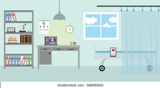 Doctor's workplace in the clinic. Isolated vector background in flat design style