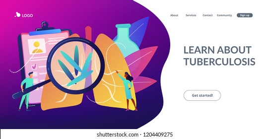 Doctot with magnifier looking at bacteria in lungs. Tuberculosis, mycobacterium tuberculosis and world tuberculosis day concept on white background. Website vibrant violet landing web page template.