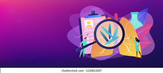 Doctot with magnifier looking at bacteria in lungs. Tuberculosis, mycobacterium tuberculosis and world tuberculosis day concept on white background. Header or footer banner template with copy space.