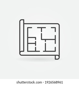 Document with Apartment Plan vector thin line concept icon or design element