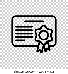 Document of certificate with award, linear outline icon. Black symbol on transparent background