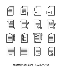 Document and Certificate, licence line icons set vector illustration. Achievement, licence, document, signature, star, checklist, margin, paragraph, ai, psd, format. Pixel perfect. Editable Stroke