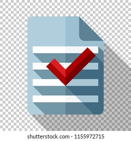 Document and check mark icon in flat style with long shadow on transparent background