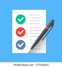 Document with checkmarks and pen. Checklist, survey, completed tasks, to-do list concepts. Modern flat design vector icon.