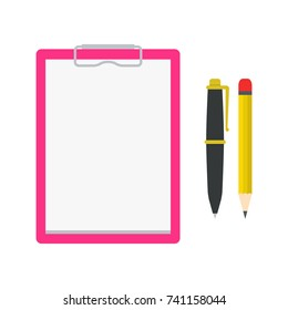 Document Clipboard, Ballpoint Pen and Pencil for School and Business. Vector Illustration