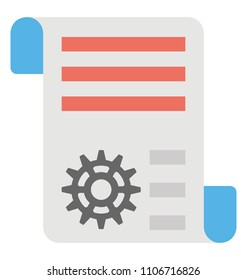 A document with cogwheel representing concept of engineering document