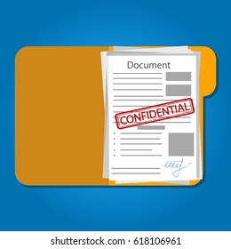 Document confidential. Vector. Isolated.