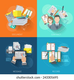 Document design concept set with contract message record flat icons isolated vector illustration