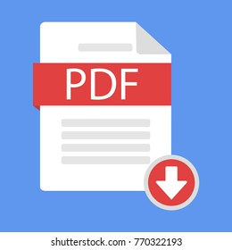 Document download icon pdf. Modern vector illustration in a flat style.