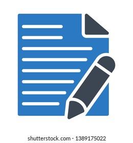 document edit glyph double color icon